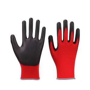 Hot Sale GMG CE Certificated EN388 Black Red White Polyester White Black PU Safety Work Gloves Mechanical Black Gloves