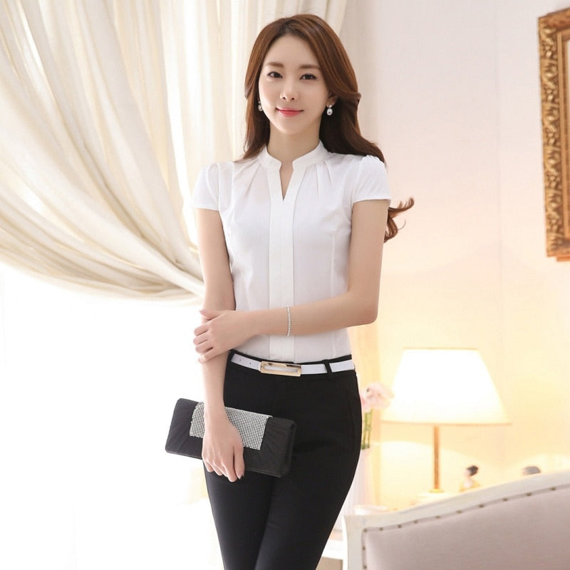 Hot Sale 2019 Fashion Summer Shirt Short Sleeve Elegant Top Women Office Blouses Temperament Stand Career Sheath Party Blouse