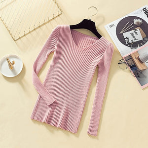Pullover Knit Sweater Women 2019 Winter Clothes Women Jumper V Neck Soft Rib Knitted Winter Tops Knitwear Pull Femme Sweaters