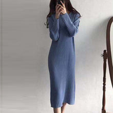 Load image into Gallery viewer, Women Knitted Long Dress Elegant Ladies O-neck Solid Sweater Dress Autumn Winter Casual Knit Female Straight Soft Midi Dress