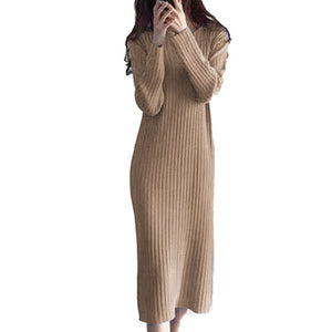 Women Knitted Long Dress Elegant Ladies O-neck Solid Sweater Dress Autumn Winter Casual Knit Female Straight Soft Midi Dress