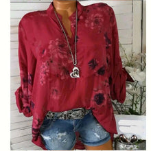 Load image into Gallery viewer, Women Blouses 2019 Floral Print Long Sleeve Turn Down Collar Blouse Ladies Shirts Flower Tunic Plus Size Shirts Femme Tops