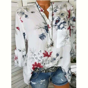 Women Blouses 2019 Floral Print Long Sleeve Turn Down Collar Blouse Ladies Shirts Flower Tunic Plus Size Shirts Femme Tops