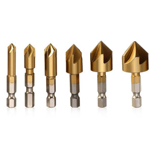 6 Pcs/set Hexagonal Shank Titanium Coated Five Flutes Countersink Drill Bit Woodworking Core Dril Bit Power Tool Accessories