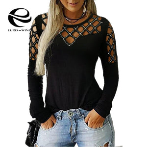 Plus Size 5XLwomen Tops and Blouse 2019 Autumn New Long Sleeve Sequined Hollow V Neck Blouse Sexy Female Slim Tops Shirts Blusas