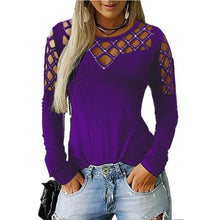Load image into Gallery viewer, Plus Size 5XLwomen Tops and Blouse 2019 Autumn New Long Sleeve Sequined Hollow V Neck Blouse Sexy Female Slim Tops Shirts Blusas
