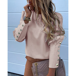 Women Clothing Solid O Neck Buttons Elegant Casual Blouse Office Ladies Plus Size S-3XL All-match Long Sleeve Shirt SJ4764E