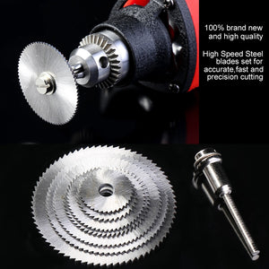 7pcs/Set High Speed Steel Electric Drill Saw Blade Tools HSS Circular Cutting Discs Mandrel Rotary Tool For Wood Cutting