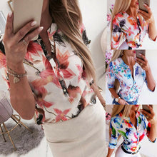 Load image into Gallery viewer, Summer Women 3/4 Sleeve Floral Loose Blouses Tops Woman Female Shirt OL Ladies Casual Button Blouse Streetwear 2019 New Arrival