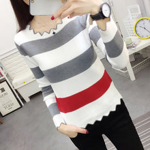 Load image into Gallery viewer, Lucyever Patchwork Stretch Knit Sweater Women Fashion Mix Color Long Sleeve Black Sweater Woman 2019 Autumn Slim Ladies Pullover