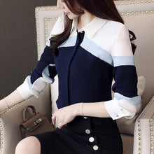 Load image into Gallery viewer, womens tops and blouses 2019 chiffon blouse shirts women tops long sleeve ladies tops button spliced office lady plus size