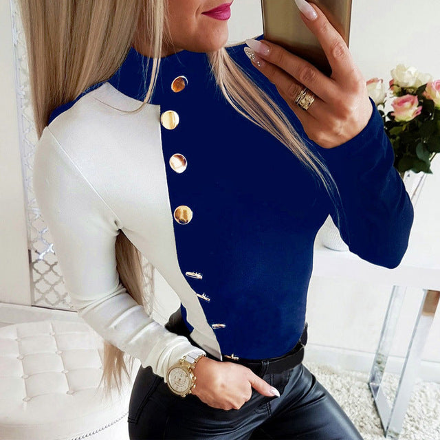 Winter Turtleneck Buttons Shirt Blouse Women Autumn Long Sleeve Blouses Casual Female Patchwork Tops Blusa Pullover Dropshipping