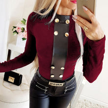Load image into Gallery viewer, Winter Turtleneck Buttons Shirt Blouse Women Autumn Long Sleeve Blouses Casual Female Patchwork Tops Blusa Pullover Dropshipping