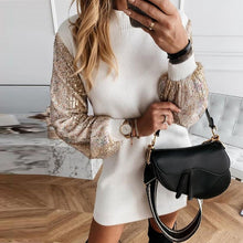 Load image into Gallery viewer, Office Lady Dress Elegant Button Turtleneck Autumn Winter Dress Women New Fashion Sequins Long Sleeve A-Line Party Dress Vestido