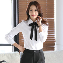 Load image into Gallery viewer, Women Blouse Bow Tie Turn Down Collar Chiffon Blouses Spring Autumn White Slim Shirt Office Ladies Tops Blusas Mujer De Moda