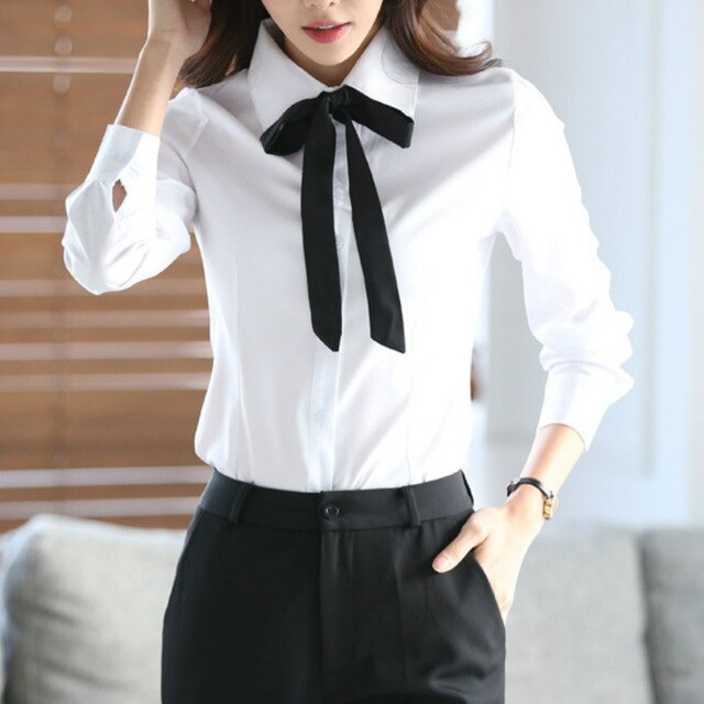 Women Blouse Bow Tie Turn Down Collar Chiffon Blouses Spring Autumn White Slim Shirt Office Ladies Tops Blusas Mujer De Moda