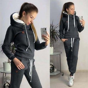 Solid Hoodies Women Thick Warm Pocket Casual Pullover Female Outdoor Sport Soft Sweatshirts Suit