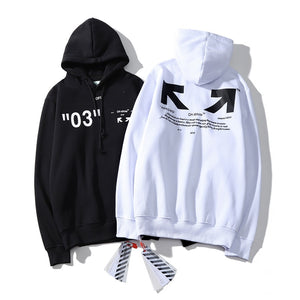 Europe And America off White Ow Qualified 03 with Numbers Arrowhead Slogan Hooded plus Velvet Hoodie Men And Women Celebrity Sty