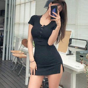 New Buttons Summer Dress Black White Short Sleeve Mini Dress Women Casual Slim High Elastic Bodycon Sexy Dresses Vestidos B010