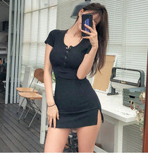 Load image into Gallery viewer, New Buttons Summer Dress Black White Short Sleeve Mini Dress Women Casual Slim High Elastic Bodycon Sexy Dresses Vestidos B010