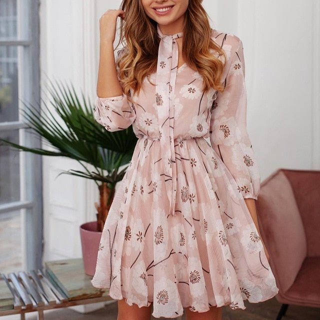 Gold Hands Vintage floral spring summer dress women fashion street Casual half sleeve chic party dress work office lady dress