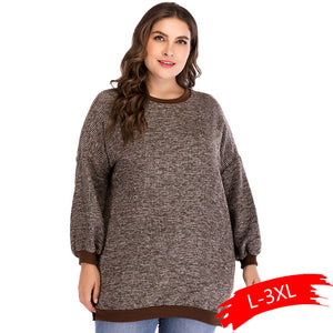 Women's Plus Size Sweaters 2019 New Autumn Winter Warm Thick Casual Round Neck Long Sleeve Side Split Sweater female
