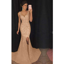 Load image into Gallery viewer, Luxury White Lace Sequin Mermaid Long Dress Women 2019 Evening V Neck Sleeveless Bodycon Reflective Party Dresses Vestidos