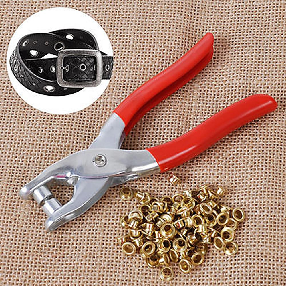 1 Punch Pliers 100 Rivets Eyelets Tools Grommets for Shoes Bags Leather Belt