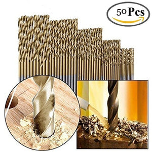 free ship 50pcs 1.5mm - 10mm Titanium HSS Drill Bits Coated Stainless Steel HSS High Speed Drill Bit Set For Electrical Dril