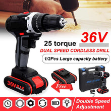 Load image into Gallery viewer, 36V Professional Electric Impact cordless screwdriver Electric Dril 1/2 Li-ion Battery Rechargeable Home DIY Electric Power Tool