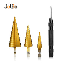 Load image into Gallery viewer, JelBo 3PCS 4-12/4-20/4-32mm HSS Titanium Coated Core Dril Step Drill Bits Wood Metal Hole Cutter Black Center Punch Drill Bits