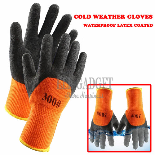 1Pair Winter Waterproof Work Safety Thermal Gloves Anti-Skidding Latex Rubber Garden Gloves For Worker Builder Hands Protection