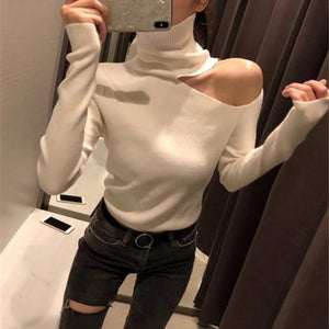 Knitted Sweater Off Shoulder Pullovers Sweater for Women Long Sleeve Turtleneck Female Jumper Black White Gray Sexy Clothing