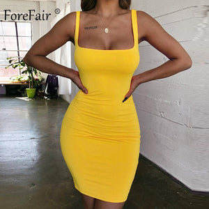 Forefair Spaghetti Strap Sexy Bodycon Dress Summer Yellow Neon Green Black Orange Elegant Sleeveless Mini Short Dress Women