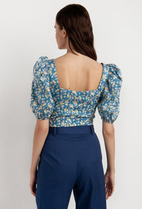 Floral top with puff sleeves