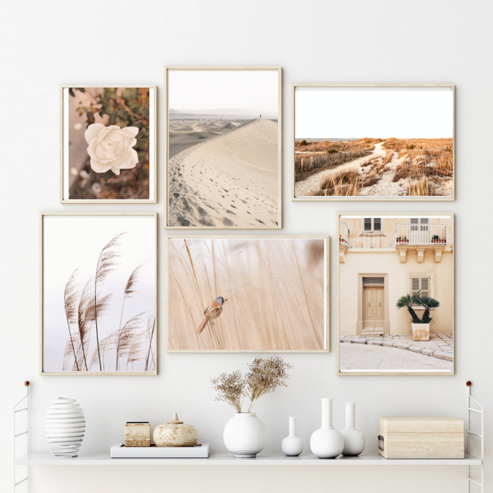 Cream Aesthetics Wall Art Set of 6 Posters