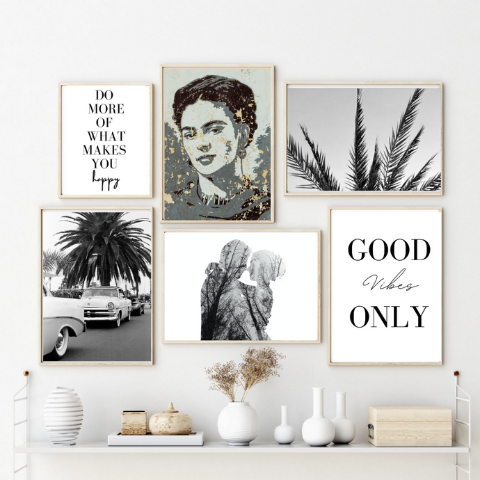 B&W Wall Art Set of 6 Posters