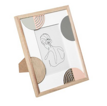 Load image into Gallery viewer, One Line Art in wooden 24cm photo frame