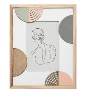 One Line Art in wooden 24cm photo frame
