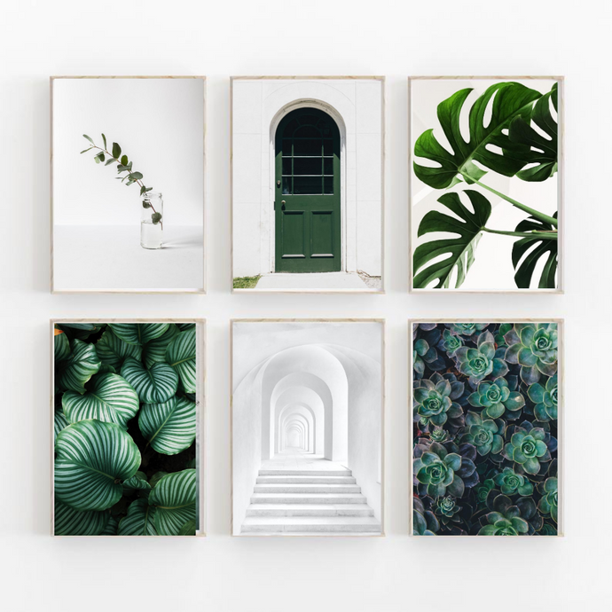 Minimal Green Wall Art Set of 6 Posters