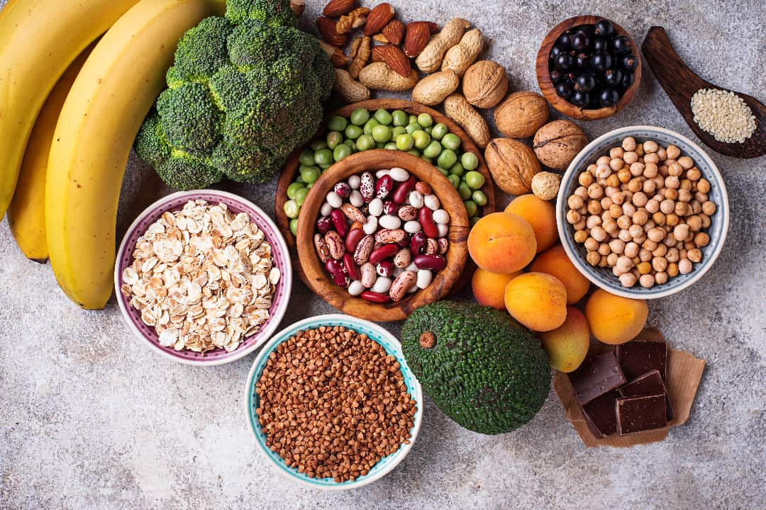 Fruits, Vegetables, Grains and Nuts with Magnesium