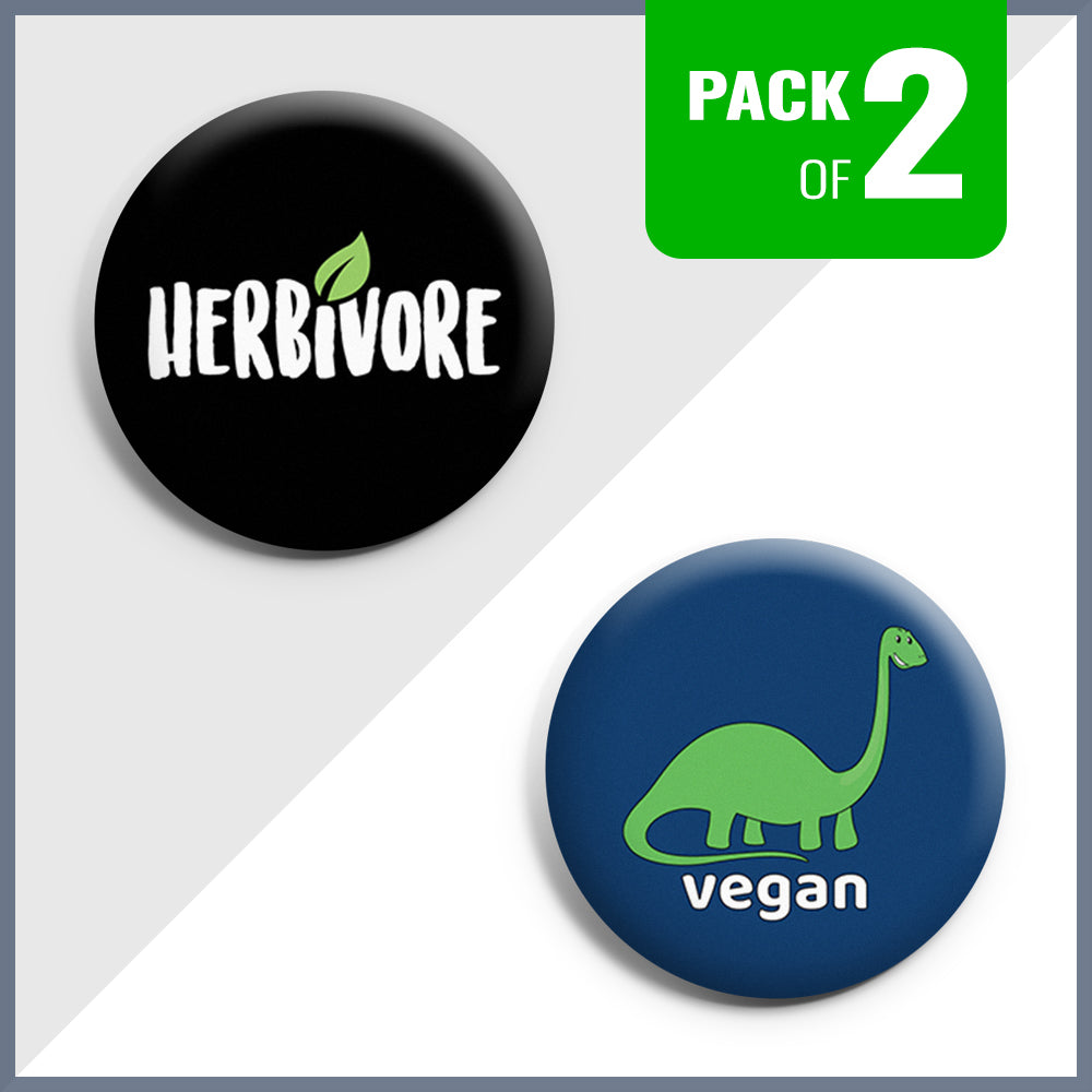 Herbivore & Dino Vegan Button Badge Set - Pack of 2