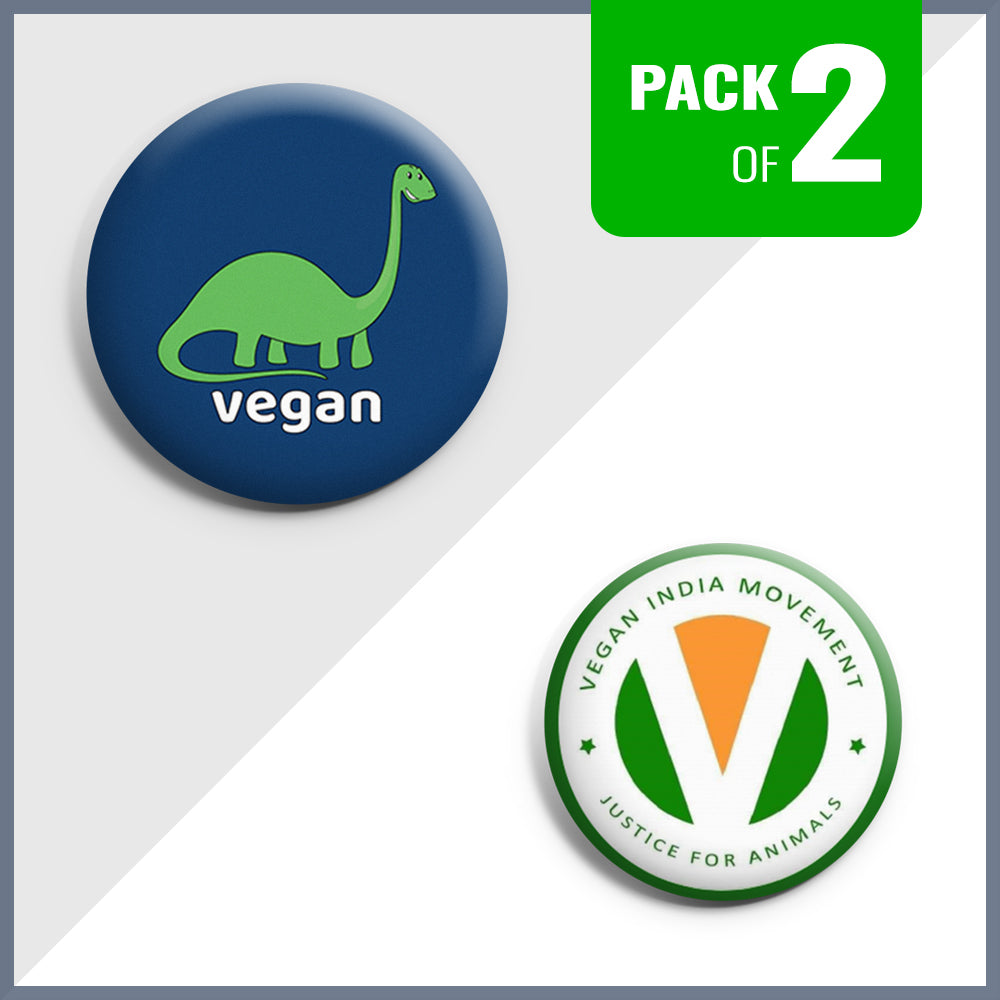 Dino Vegan & Vegan India Movement Badge Set - Pack of 2