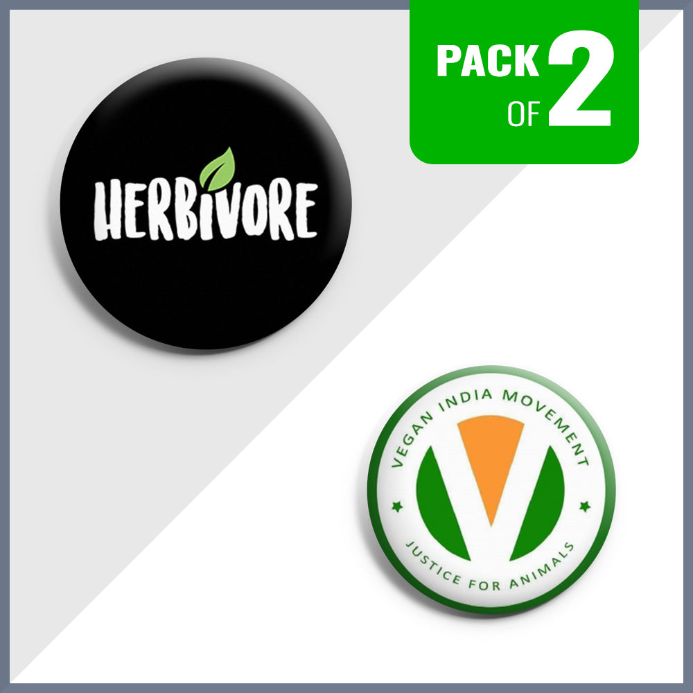 Herbivore & Vegan India Movement Badge Set - Pack of 2
