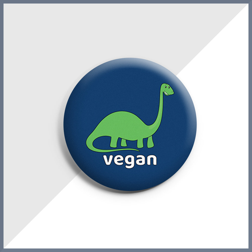 Dino Vegan Button Badge