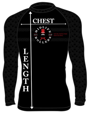 Midlife Rollers Rash Guard Sizing Chart