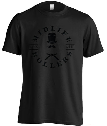 Midlife Rollers Black on Black Shirt