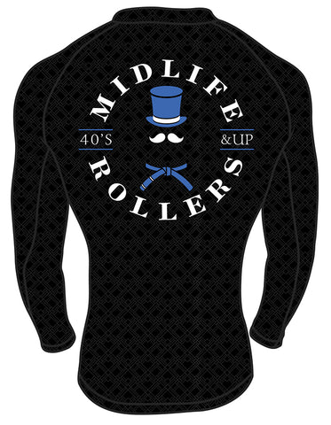 Midlife Rollers Ranked Blue Belt Long Sleeve Rashguard