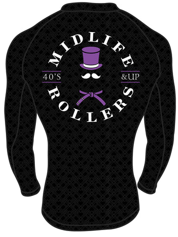 Midlife Rollers Ranked Purple Belt Long Sleeve Rashguard