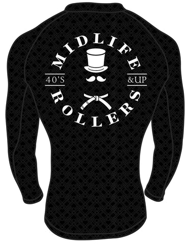 Midlife Rollers Ranked White Belt Long Sleeve Rashguard